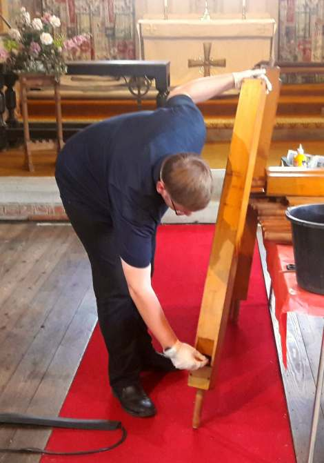Dean the restorer at work. Picture by Bob Skinner.
